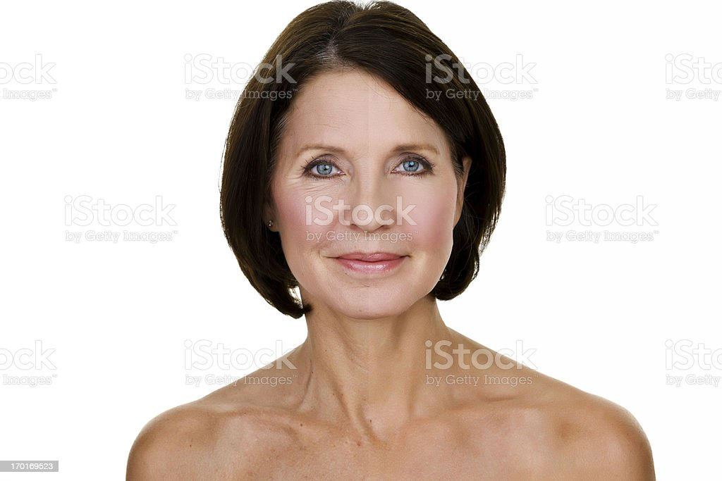 Woman half edited stock photo