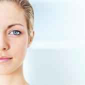 Woman half face closeup