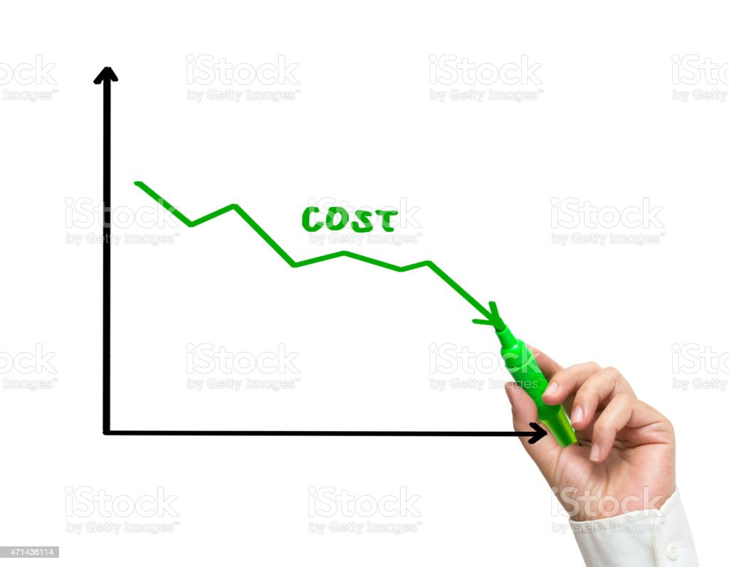 Woman hand drawing graph of cost reduction stock photo