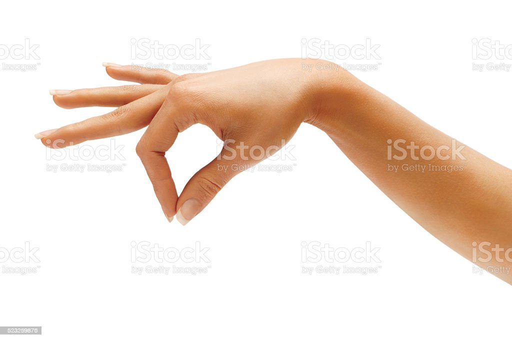 Woman hand hold something stock photo
