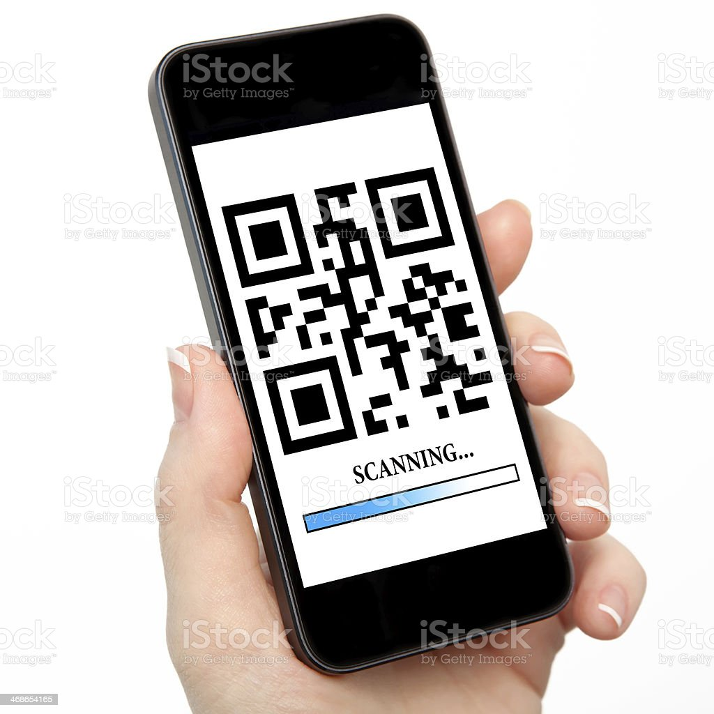 woman hand holding a phone with qr code the screen stock photo