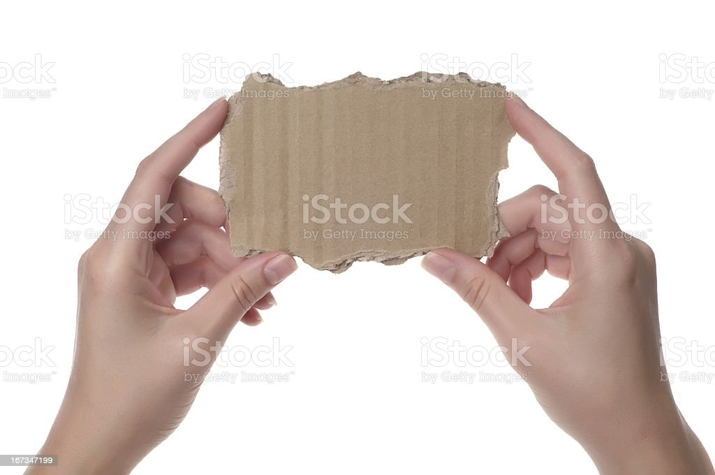 Woman hand holding cardboard royalty-free stock photo