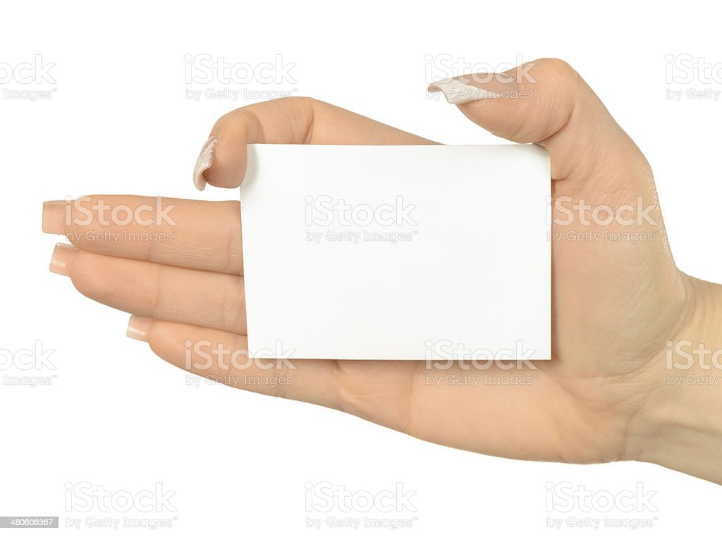 woman hand holding empty card royalty-free stock photo