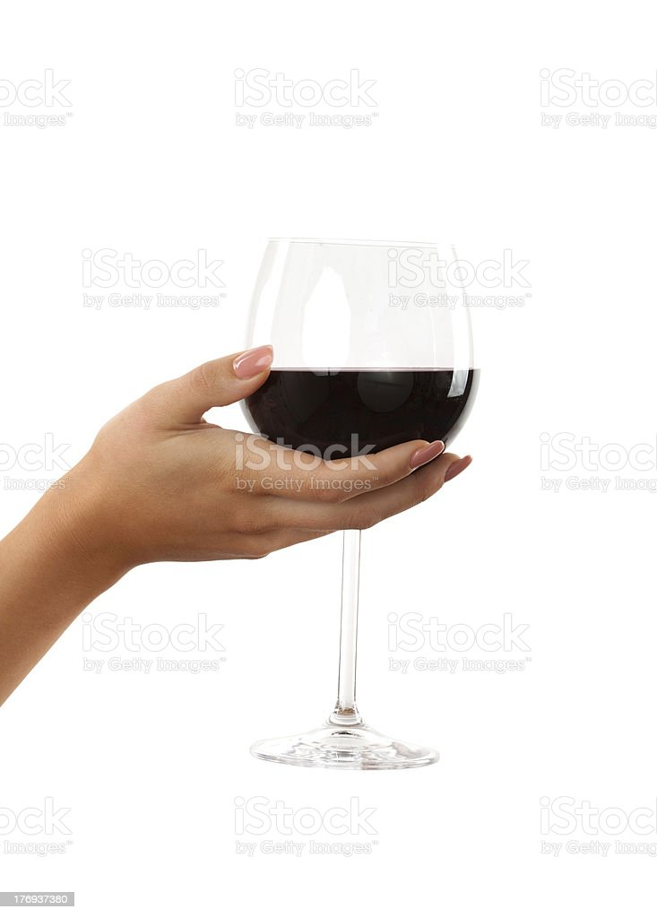 woman hand holding glass of red wine on white royalty-free stock photo