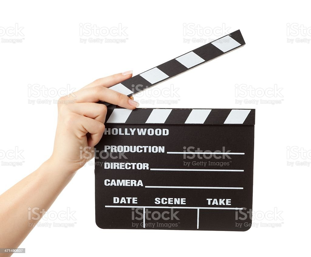 woman hand holding hollywood slate board isolated stock photo