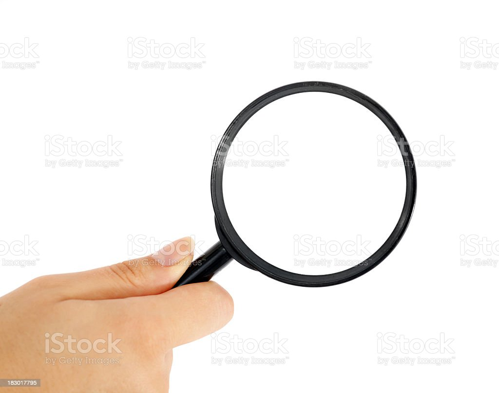 Woman hand holding lens on white - searching royalty-free stock photo