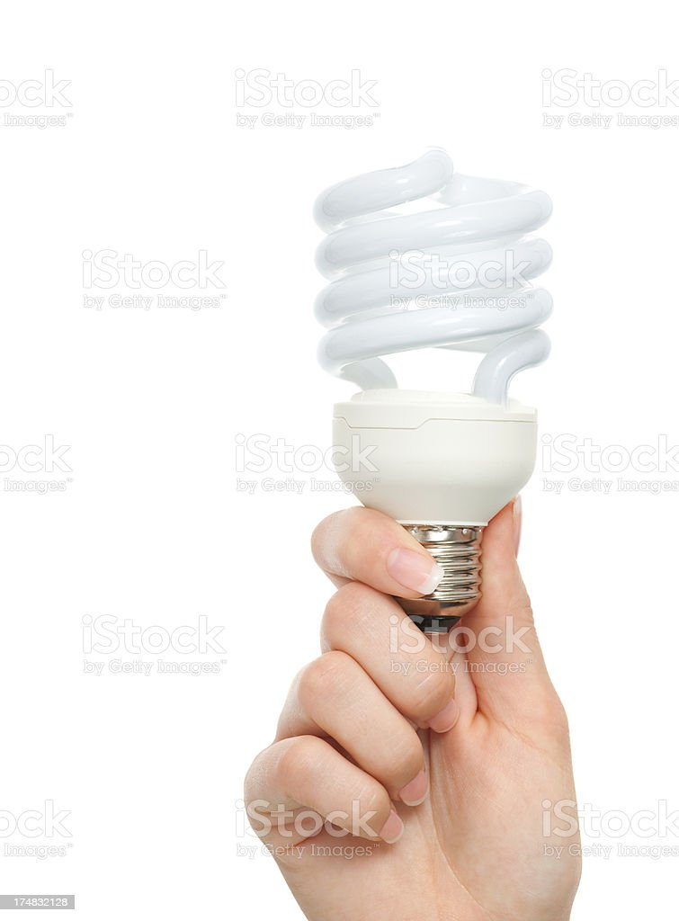 Woman hand holding light bulb on white royalty-free stock photo