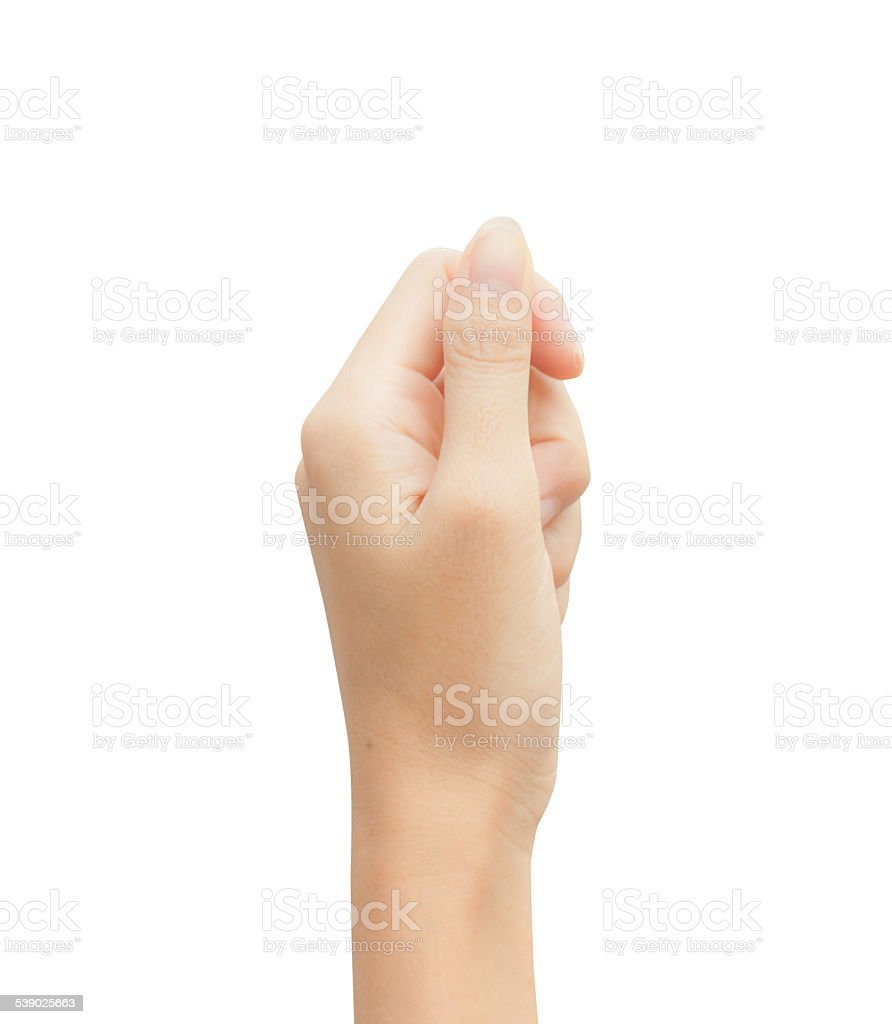 Woman hand holding mock up stock photo