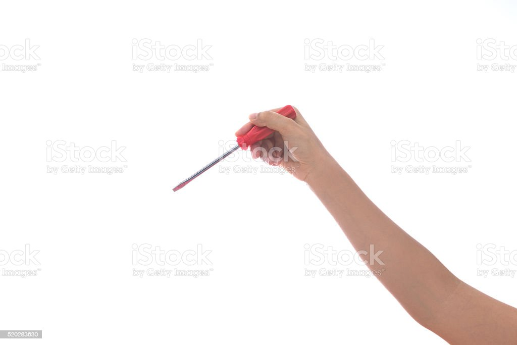 woman Hand holding screwdriver on white stock photo