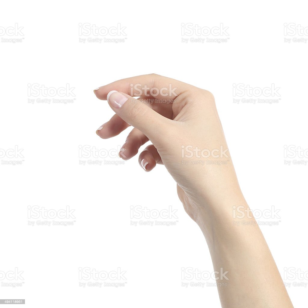 Woman hand holding some like a blank card stock photo