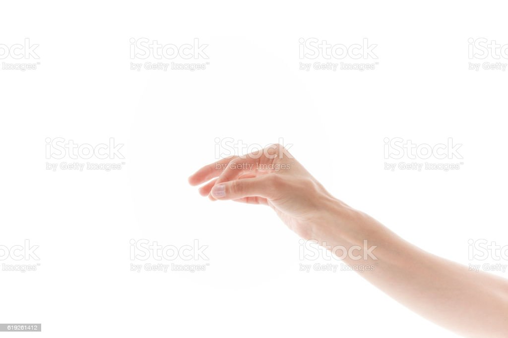 Woman hand holding some like a blank object stock photo