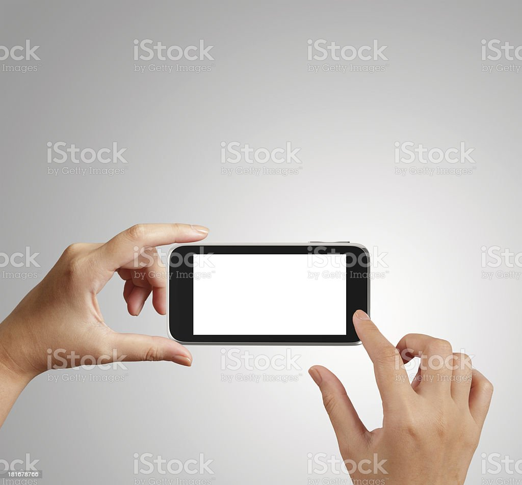 woman hand holding the phone tablet touch computer gadget royalty-free stock photo
