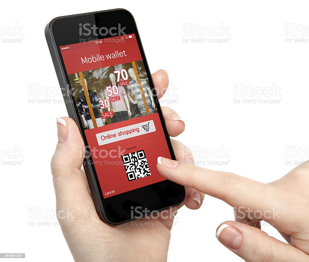 woman hand holding the phone with onlain shopping stock photo