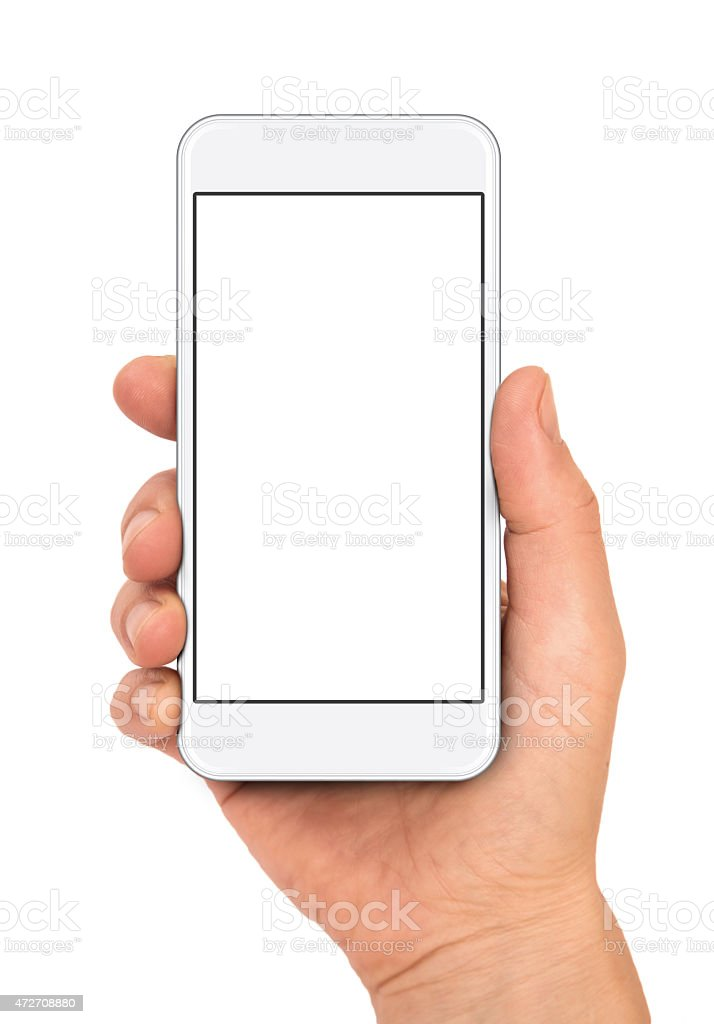 Woman hand holding the smartphone stock photo