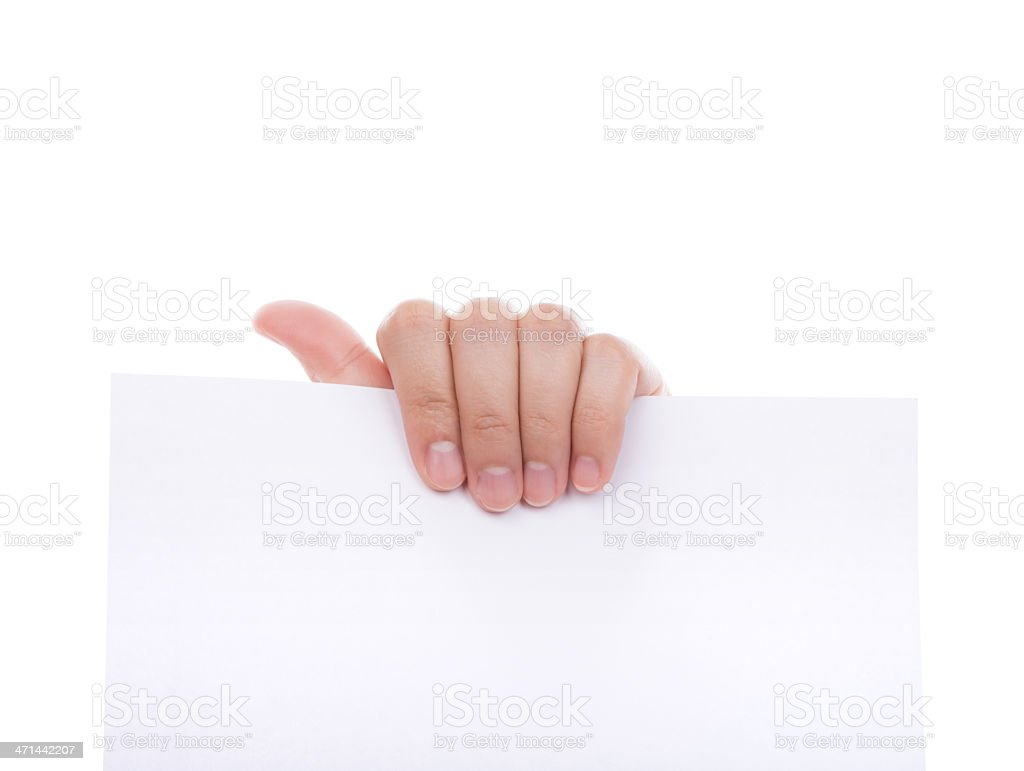 Woman hand holding white empty paper royalty-free stock photo