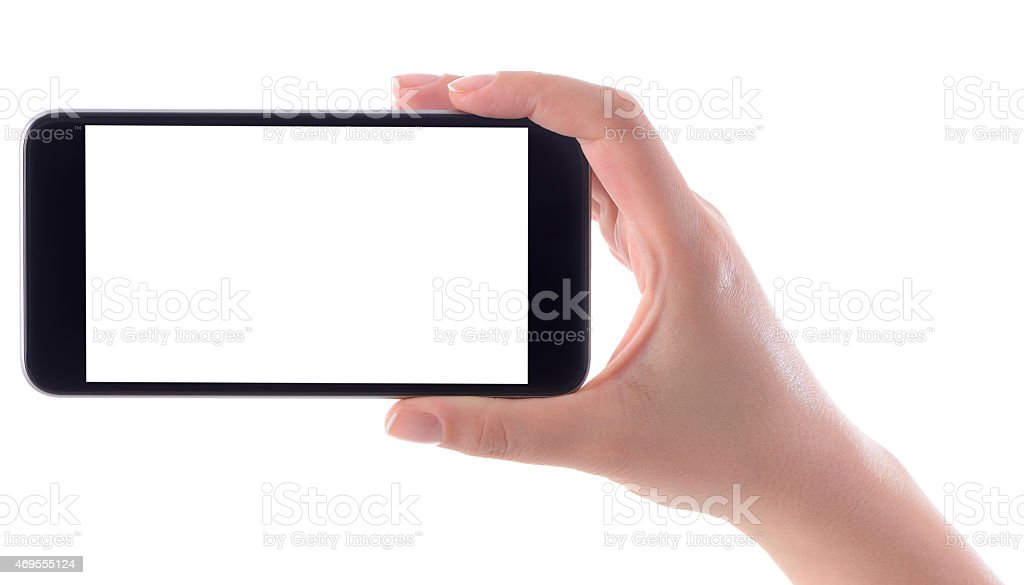 Woman hand holding white screen smart phone stock photo