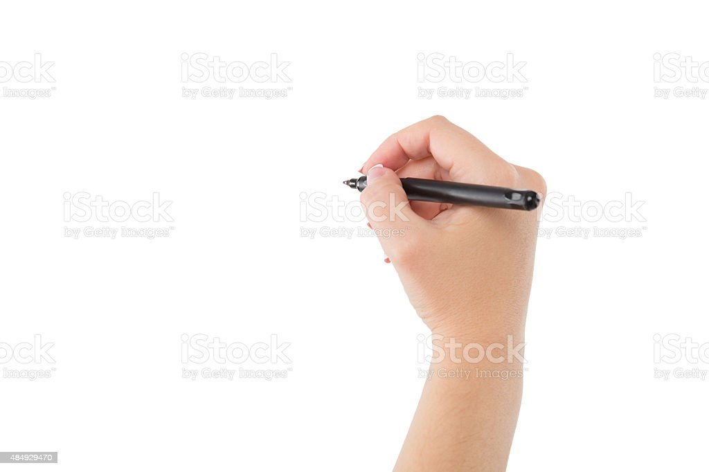 Woman hand is ready for writing with marker. Isolated stock photo