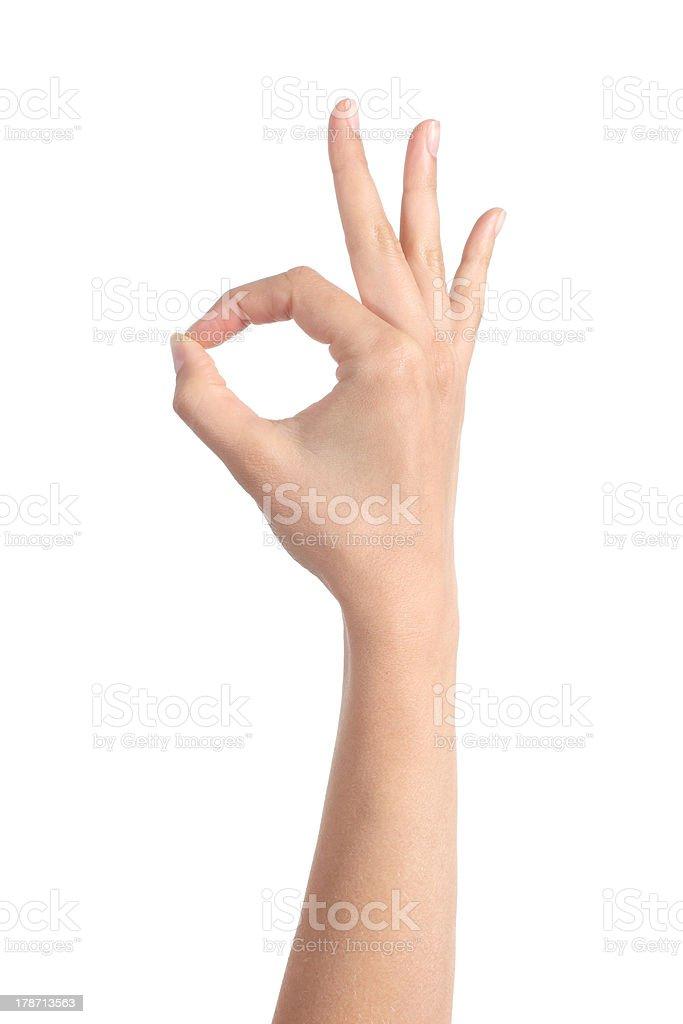 Woman hand making ok gesture stock photo