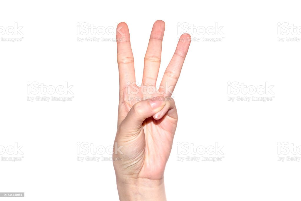 Woman hand making sign  number 3. stock photo