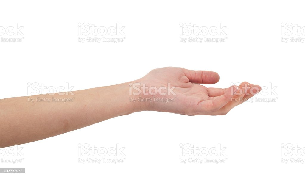 Woman hand on isolated background stock photo