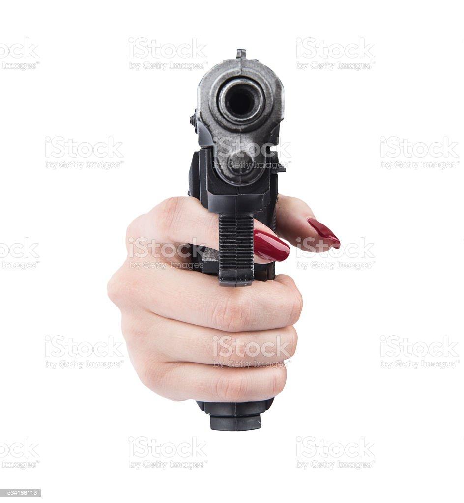 woman hand pointing gun stock photo