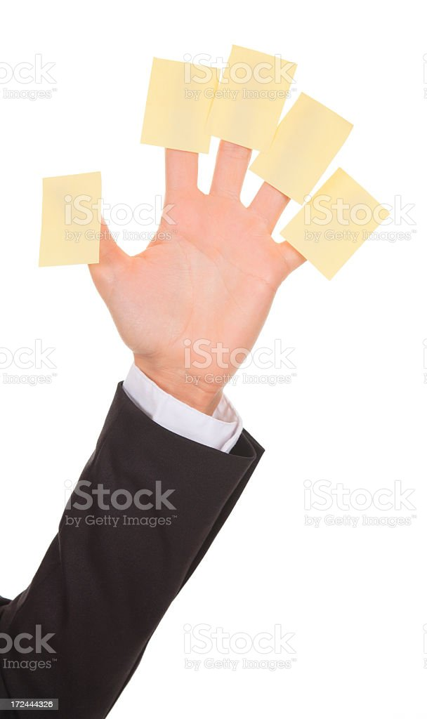 Woman Hand Post it - Vertical royalty-free stock photo