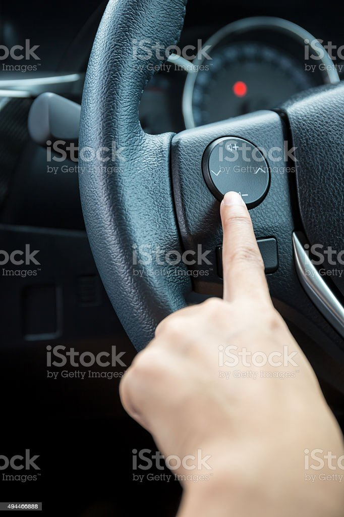 woman hand pushes stock photo
