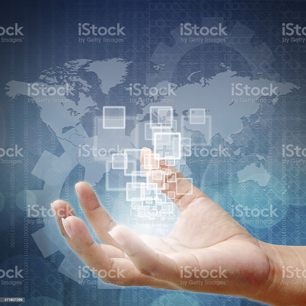 Woman hand pushing on touch screen interface stock photo
