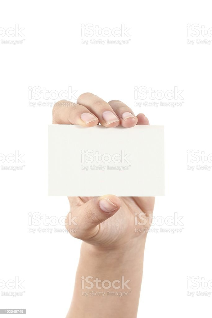 Woman hand showing a business card royalty-free stock photo