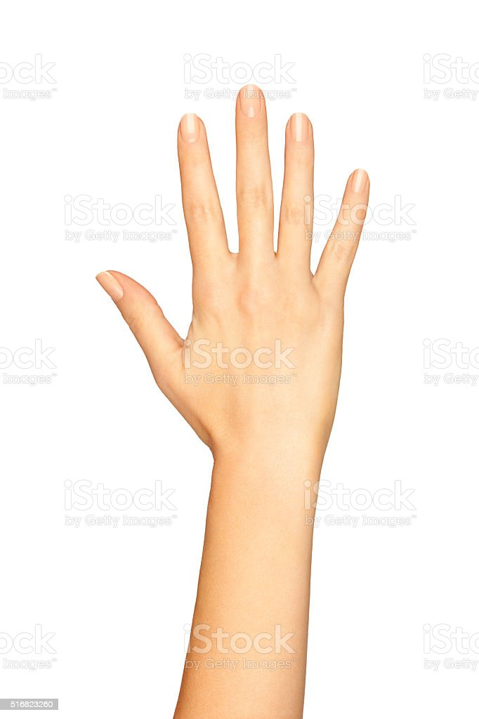 Woman Hand Showing Five Fingers On A White Background stock photo