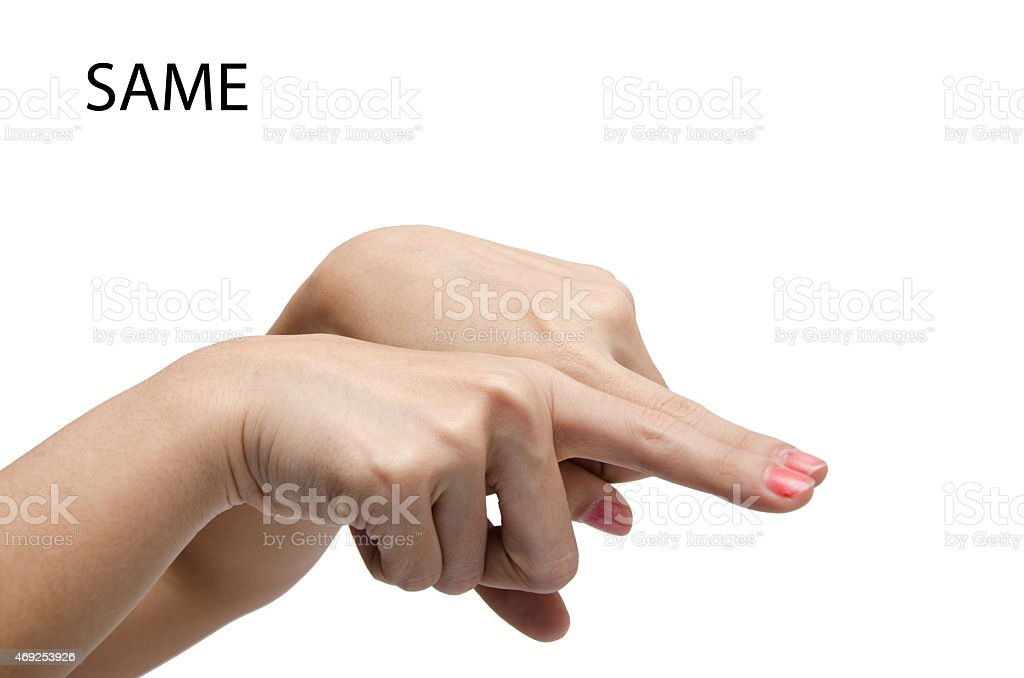 Woman hand sign SAME ASL American sign language stock photo