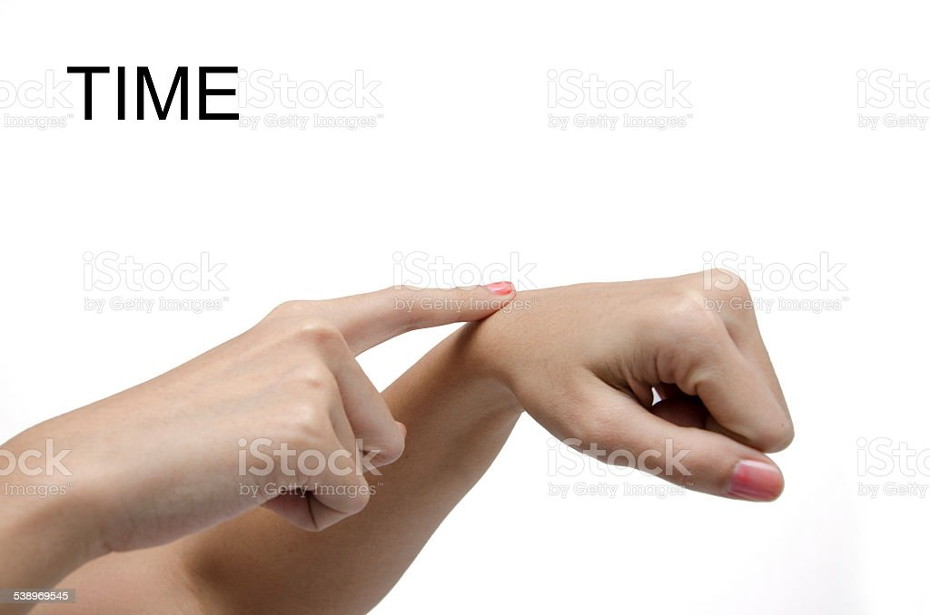 Woman hand sign TIME ASL American sign language stock photo