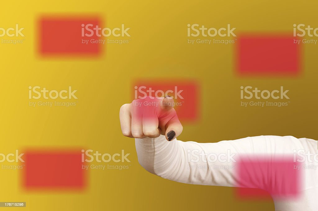 Woman hand touching a business card on Digital Touch Screen. stock photo