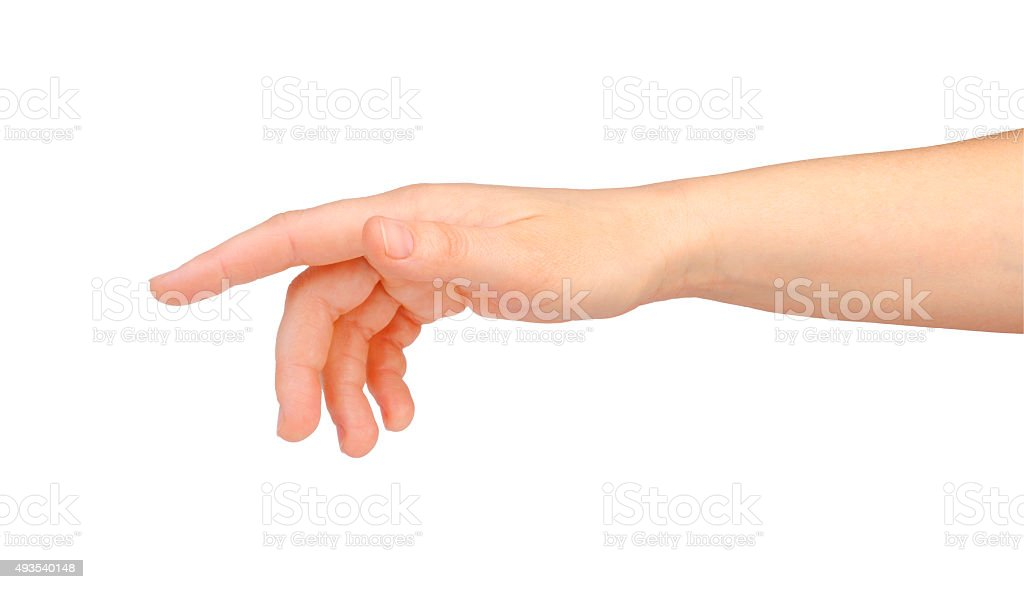 Woman hand touching virtual screen stock photo