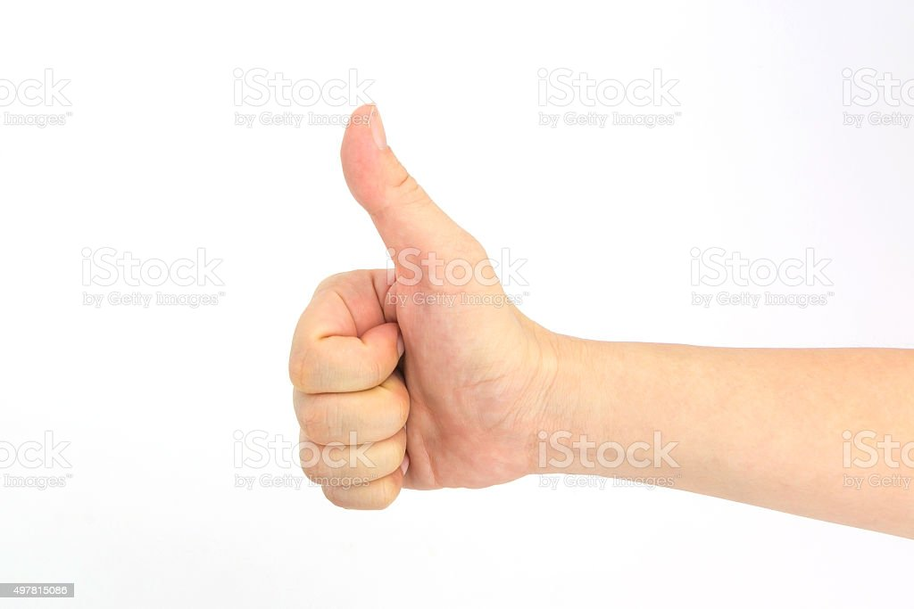 Woman hand tumb sign. Isolated on white background stock photo