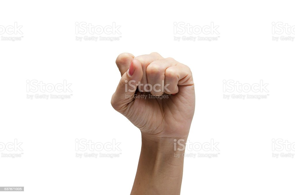 Woman hand up high s american sign language ASL stock photo