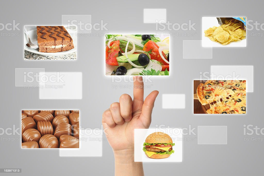 Woman hand uses touch screen interface with food royalty-free stock photo