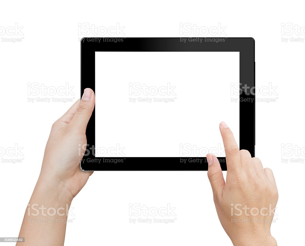 woman hand using mock up digital tablet isolated clipping patch stock photo