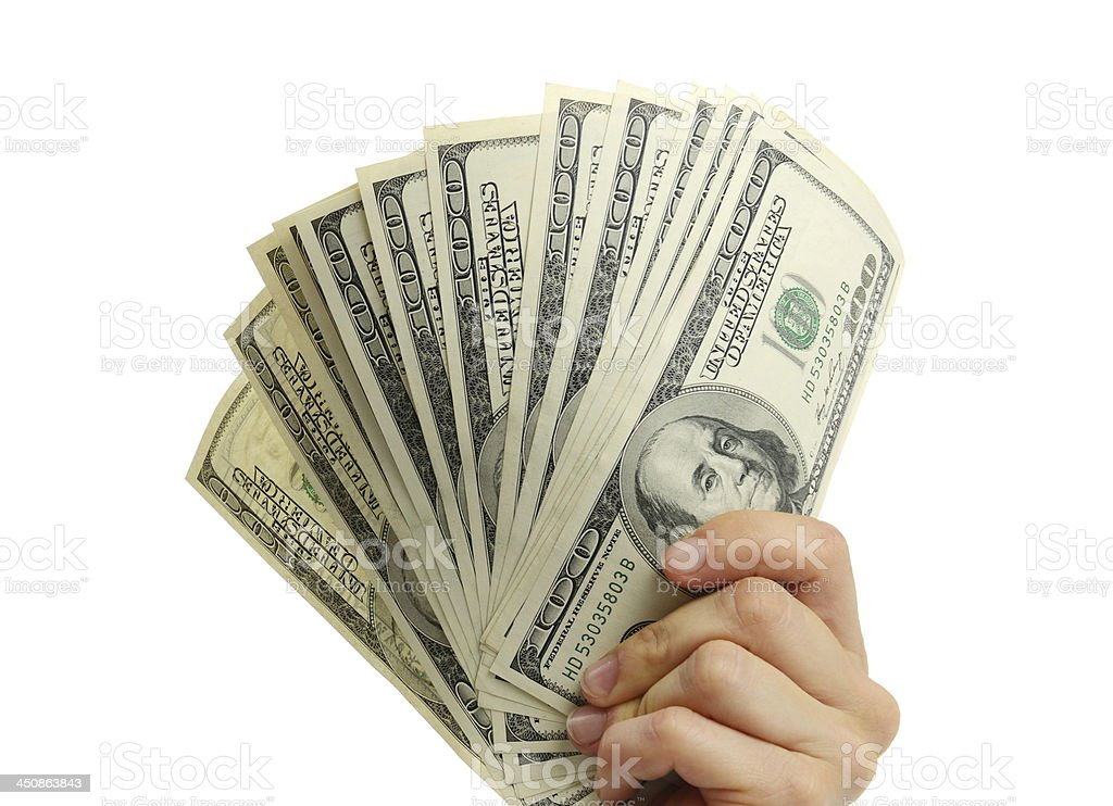 woman hand with 100 dollar bills stock photo
