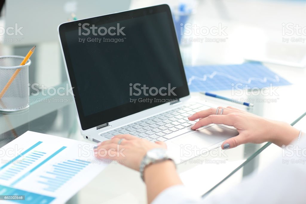 woman hand with business report stock photo