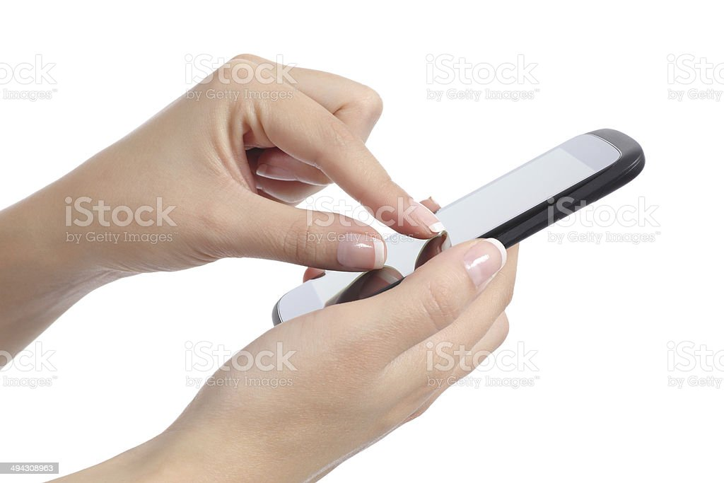 Woman hand with fingers on multi touch screen stock photo