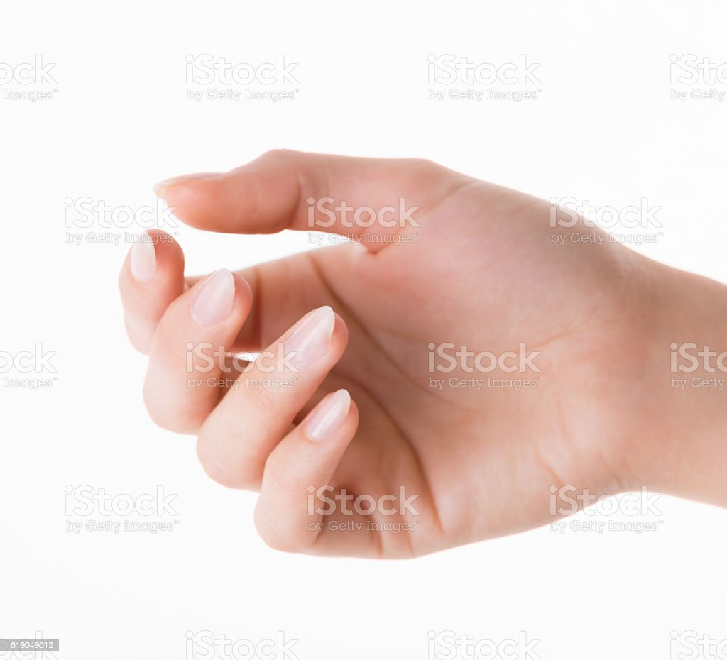 Woman hand with new artificial nails on white background stock photo