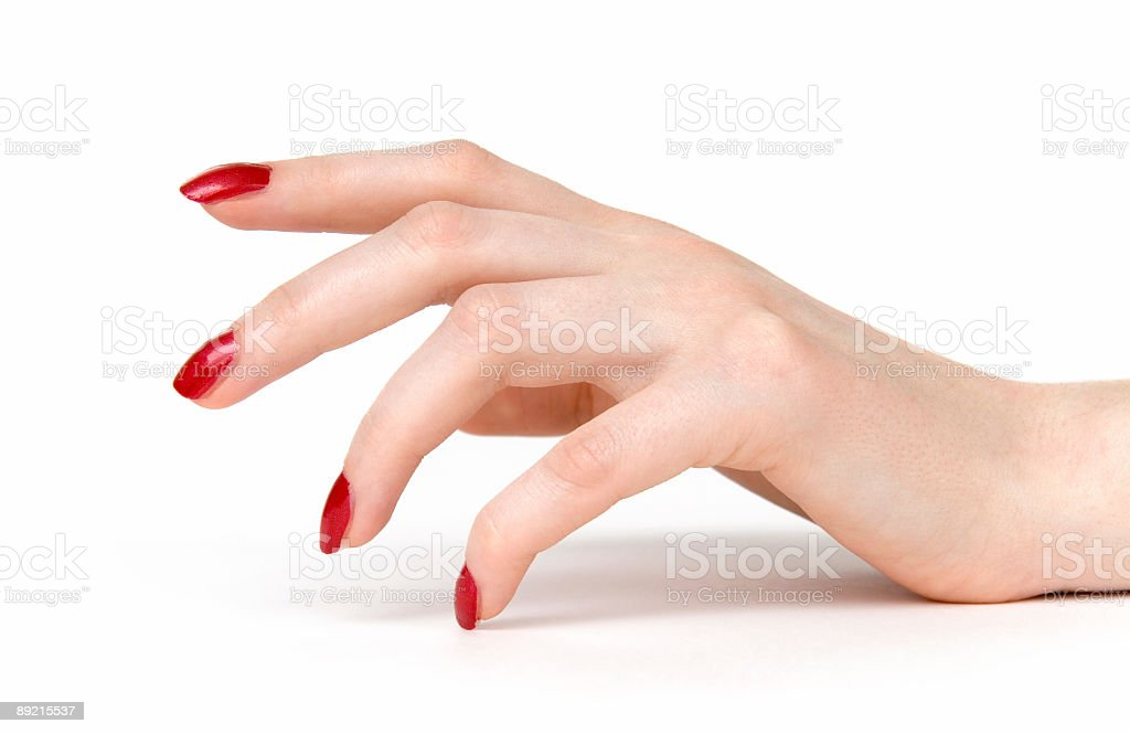 Woman hand with red nails stock photo