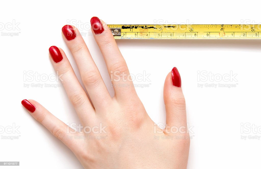 Woman hand with ruler royalty-free stock photo
