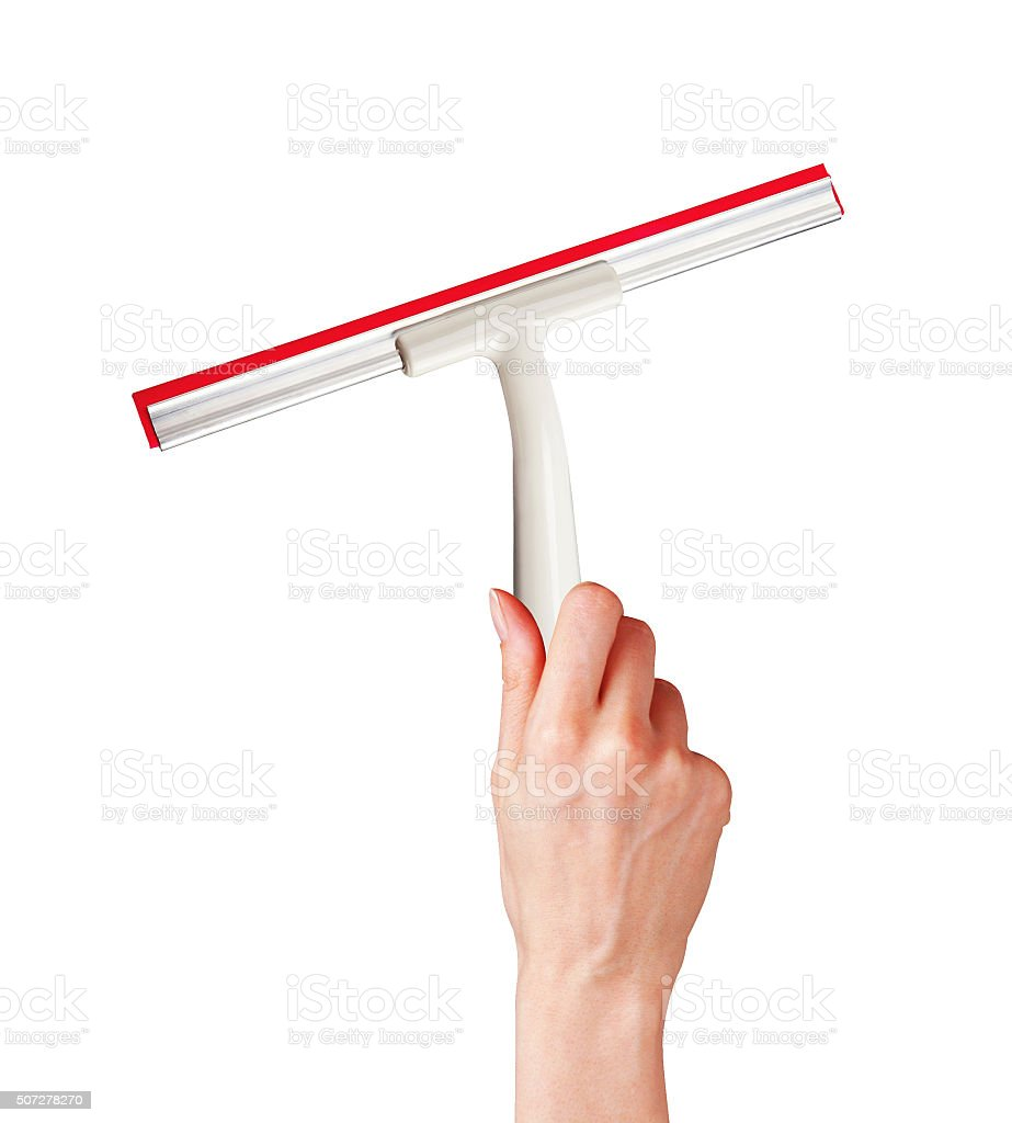 woman hand with special squeegee for cleaning isolated on white stock photo