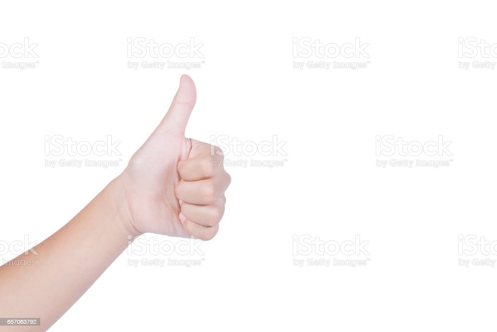 Woman hand with thumb up isolated on white background stock photo