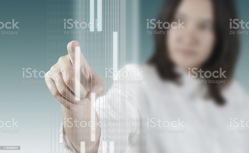 woman hand working on virtual technology interface royalty-free stock photo