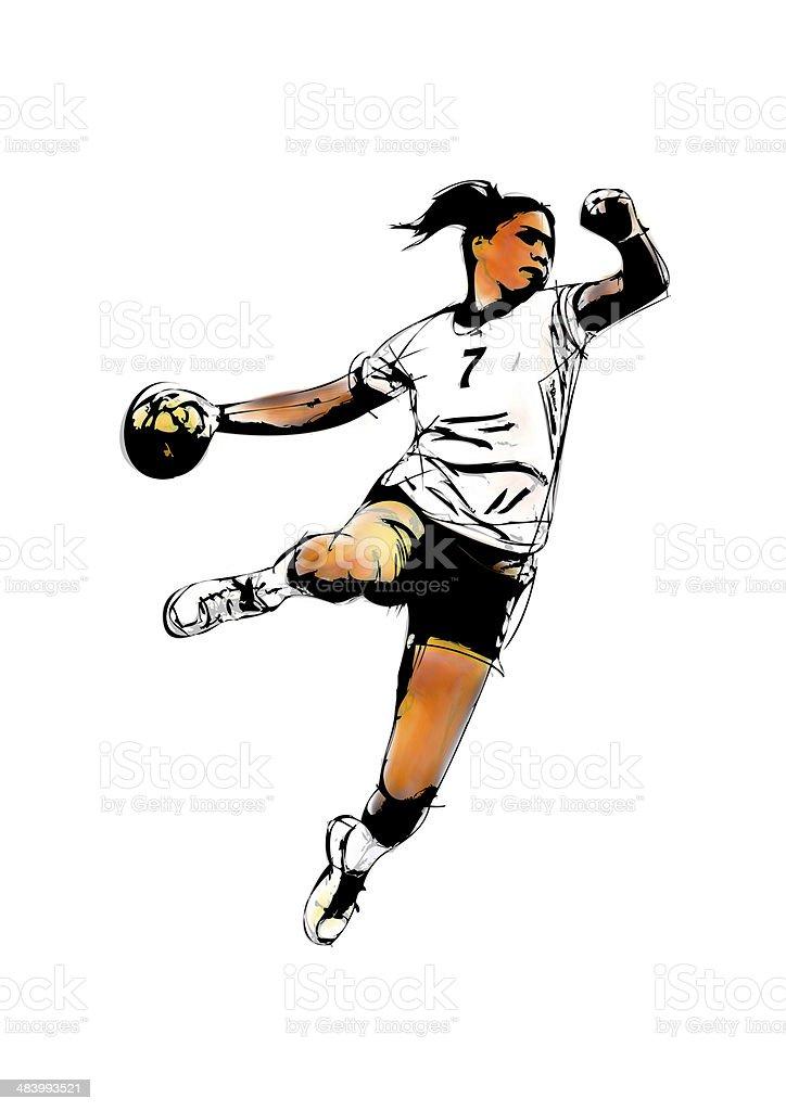 woman handball player stock photo