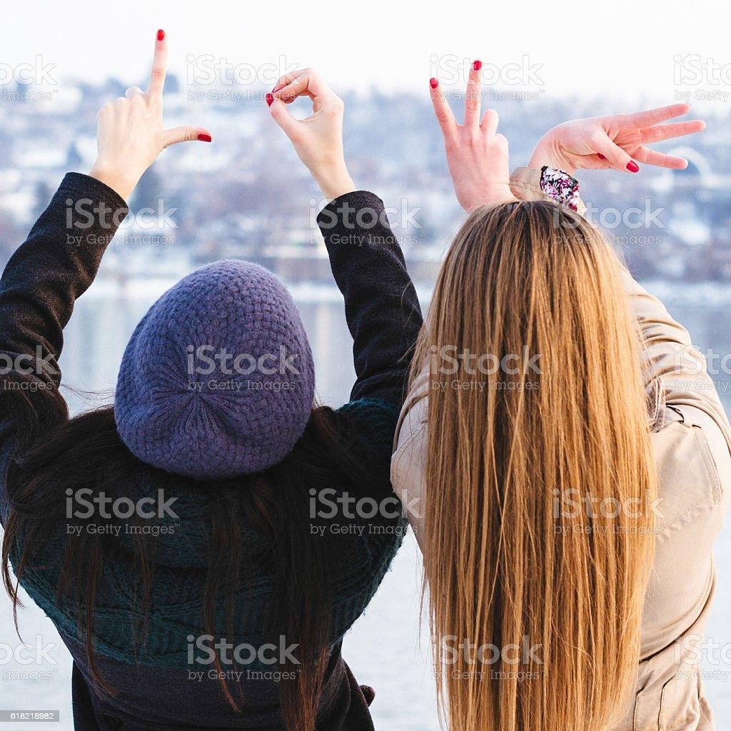 Woman hands Heart symbol shaped stock photo
