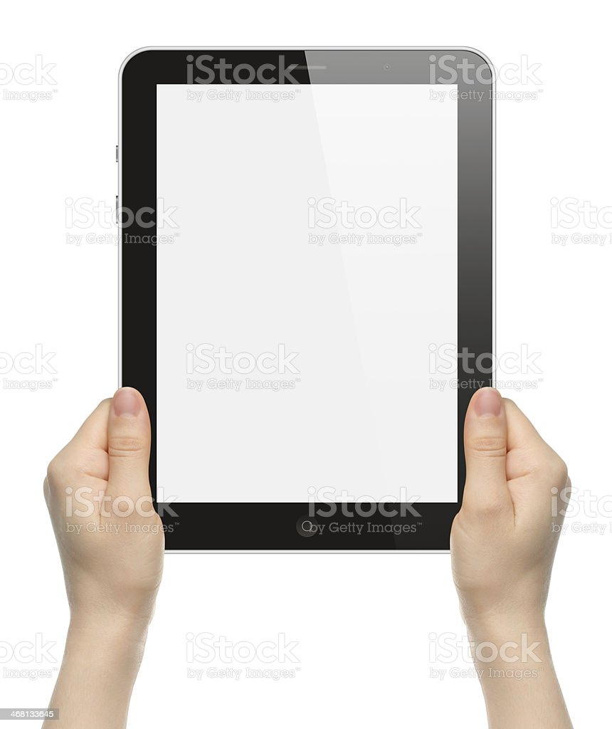 Woman hands holding black tablet PC royalty-free stock photo